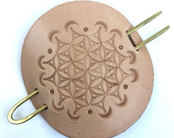 Leather and Brass Hair Pin Tree of Life Pattern