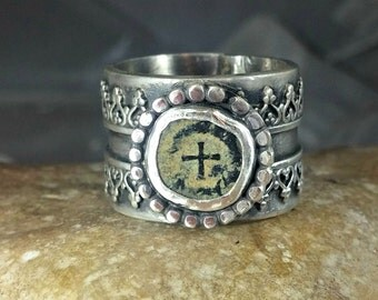 Ancient  Christian Coin Statement Ring  , Chunky Coin and silver Ring,  authentic antique, ancient coin jewelry