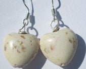 Pierced Earrings small rustic white heart shaped stone pierced dangle handmade stone earrings Gift for Her by Ziporgiabella