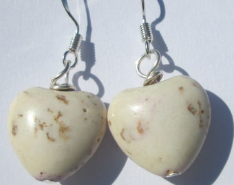 small rustic white heart shaped stone pierced dangle hand made wire wrapped earrings