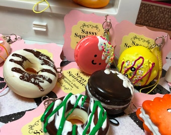 SASSY SQUISHIES Squishy Party Favor Gift Collection Hobby in Chocolate Icing on Vanilla Glazed Mini Donut