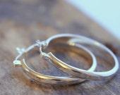Silver hammered hoop earrings - click latch hoops