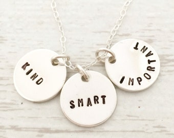 Kind Smart Important - you is kind, you is smart, you is important. The Help. Inspirational quote gift for her, three charm necklace, words