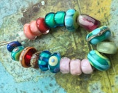 bright collection of eccentric orphan lampwork beads - sampler - by Ellen Dooley SRA (20)#2