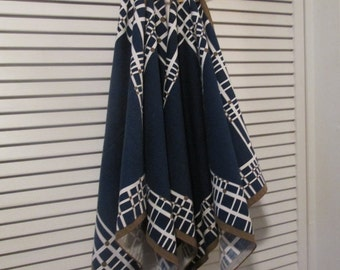 Four Vintage Cotton Napkins - Bill Blass Napkins - Black Brown White Geomentric