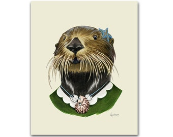 Sea Otter Lady art print - Animal art - Nursery art - Nursery decor - Animals in Clothes - Children's art - Ryan Berkley Illustration 8x10
