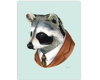 Raccoon Portrait art print by Ryan Berkley 11x14