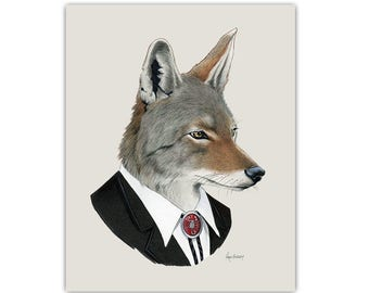 Coyote art print - Animal art - Nursery art - Nursery decor - Animals in Clothes - Children's art - Ryan Berkley Illustration 8x10