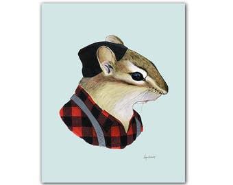 Chipmunk art print 11x14