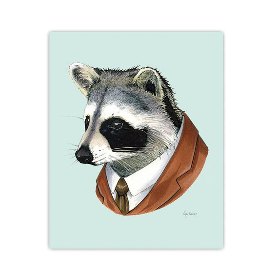 Raccoon Portrait art print by Ryan Berkley 11x14