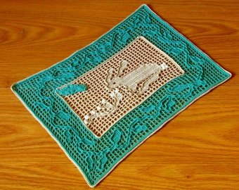 Cottontail Rabbit Filet Crochet Nature Art -- Primitive Rabbit Art -- Nature Inspired Art - Wildlife Art - OOAK Filet Crochet Doily