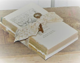 Old Rustic Book Bundle Embellished w/ Antique Ecru Lace & Rusty Key~Shabby~ Photo Prop ~Wedding Decor