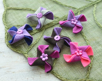 Pinwheel appliques, felt pinwheel, pinwheels for crafts, pinwheel flowers bulk, pinwheels for headbands (set of 9pcs)- PINK-PURPLE PINWHEELS