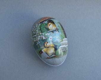 Vintage German Cardboard Easter Egg Candy Container Chicks with Love Letter Made In Germany Paper Mache Egg