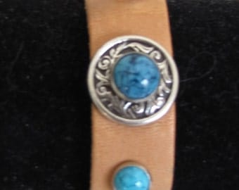 Bracelet  #Turquoise  #Wristband  #Leather #Southwestern #Brown Leather