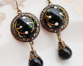 Snowdrop, Earrings made with Vintage Handpainted La Mode Glass Buttons