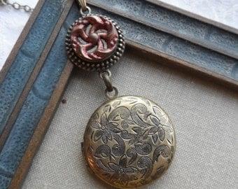 Antique Button, Locket Necklace, Flower Design, Burnt Orange-Red, Metallic, Antique Brass, Victorian, Timeless Trinkets