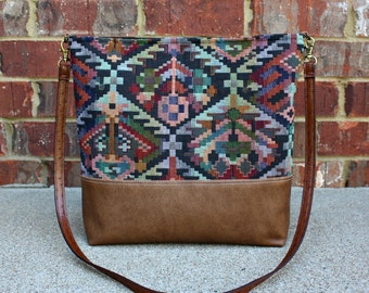 Navajo Southwestern Upholstery Bag with Faux Leather Strap