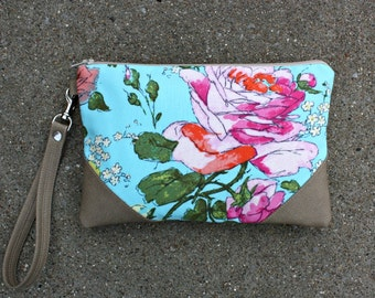 Springtime Rose Wristlet / Kindle Case / 2 Pockets