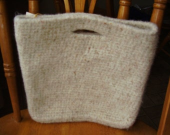 Crochet then Felted Flecked off white tote 11 inches high x 12 wide, with snap closing, Accessory