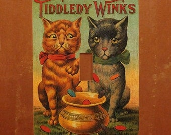 Tiddledy Winks -- Vintage Cat Advertising Light Switch Cover -- Oversized (Multiple Styles)