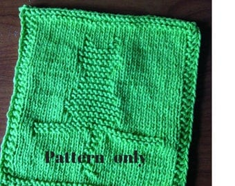 PATTERN - dishcloth / washcloth knitting pattern - Cat in the wall