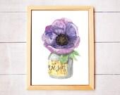 Poppy in Mason Jar Watercolor Art Print - Digital Download