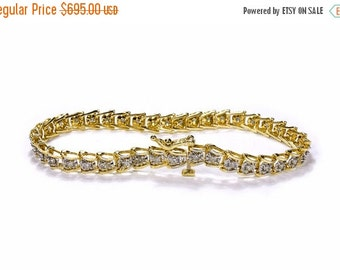 14K DIAMOND Bracelet, Gold Tennis Bracelet ORNATE Chevron Links 0.50 Ctw, BRILLiANT Cut, Engagement Holiday Gift Her - Jewelry by edmdesigns