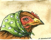 Lucky Lucy Hen  - Original ACEO Painting