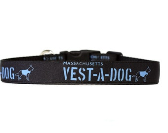 MA Vest a Dog 1 Inch Wide Dog Collar with Adjustable Buckle or Martingale in an Exclusive Design Fundraiser