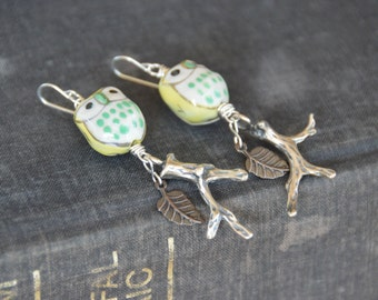 Handpainted owl and branch earrings. Woodland themed, forest jewelry
