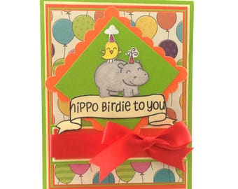 Birthday Card, Hippopotamus Birthday Card, Hippo Card, Animal Birthday Card, Bird Card, Birthday Greeting, Banner Card, Critter Birthday