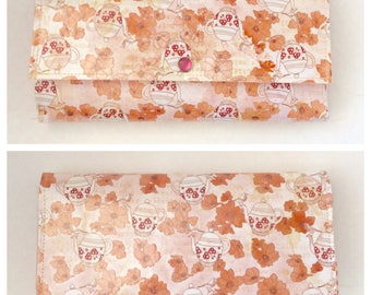 Garden Tea Party Vintage Inspired Trifold Paper Wallet Vegan Pink Glitter