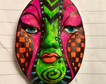 Handmade clay face doll parts head oval mask jewelry craft supplies  handmade cabochon   faces   polymer