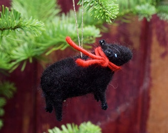 Black Lamb with Red Scarf - Needle Felted Christmas Ornament