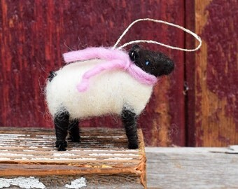 Suffolk Lamb with a Pink Scarf- Needle Felted Christmas Ornament
