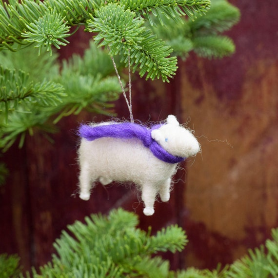 Lamb with a Purple Scarf - Needle Felted Christmas Ornament