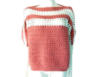 Vintage Handmade Pink White Chunky Crochet Knit Top// Size L // 138