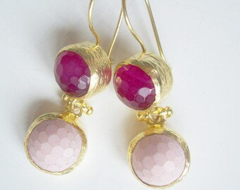 Gold plated SILVER Pink Agate  Earring