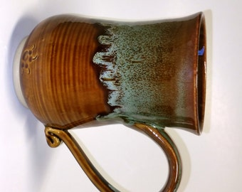 Amber and Green 16 ounce Mug - Holds 16 to 17 ounces of your favorite brew - hot or cold!