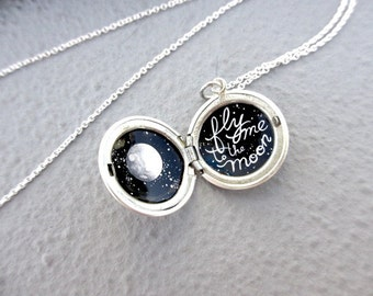 Fly Me to the Moon and Back Tiny Painting in Sterling Silver Locket