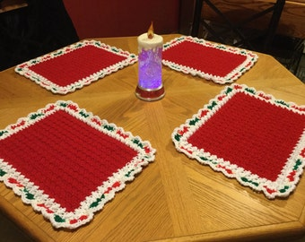 Christmas crocheted placemats