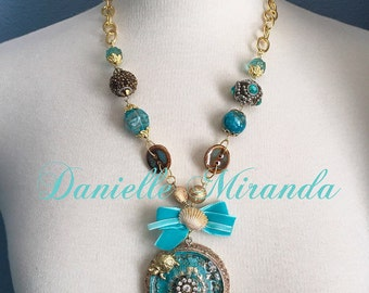 Sea of Life Collage Medallion Beaded Necklace
