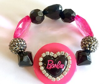 Weekend SALE Diamonds and Barbie Chunky Hot Pink and Black Beaded Bracelet