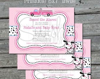 Pink Firetruck Baby Shower Invite | Fire truck Invitation | Printable Invitation | Digital Download | Girly Fire Trucks | Dalmatian