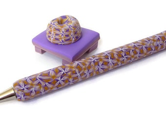 Kaleidoscope Pen, Polymer Clay Pen, Millefiori Pen, Fimo Pen, Purple Beige Pen, Beige Purple Pen, Fimo Pen Set, Refillable Pen, Purple Pen