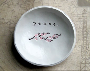 IN STOCK: Catch All Dish, Personalized Bowl, Ring Dish, Bowl, Cherry Blossom Art, Birthday Gifts for Mom, Peace Bowl