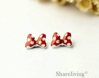 4pcs (2 pairs) Mini Bow Resin Charm / Pendant,  Stud Earring, Laser Cut Tiny Red Dot Bow Perfect for Earring / Rings - YED007F