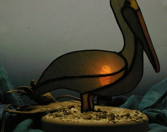 Handmade Stained Glass Brown Pelican Ornament