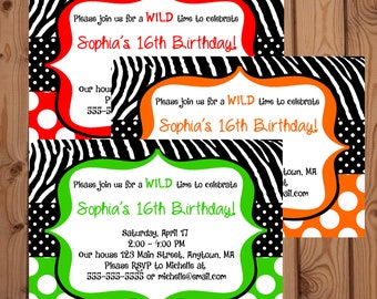 Zebra Invitation - Zebra Birthday Invitation - Digital Zebra Invitation - Printable Zebra Invite - Zebra Party - Red - Orange - Lime Green
